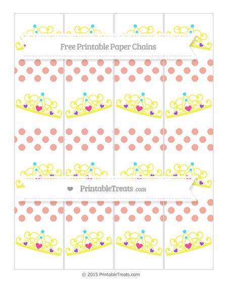Free Pastel Coral Dotted Pattern Princess Tiara Paper Chains