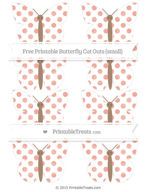 Free Pastel Coral Dotted Pattern Small Butterfly Cut Outs