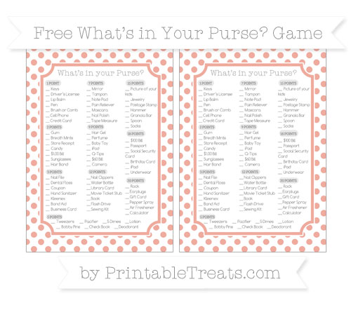 Free Pastel Coral Dotted Pattern What's in Your Purse Baby Shower Game
