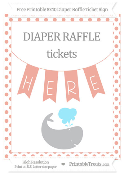 Free Pastel Coral Dotted Whale 8x10 Diaper Raffle Ticket Sign