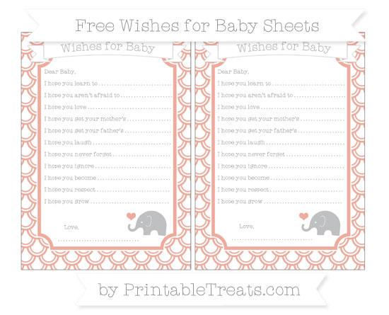 Free Pastel Coral Fish Scale Pattern Baby Elephant Wishes for Baby Sheets