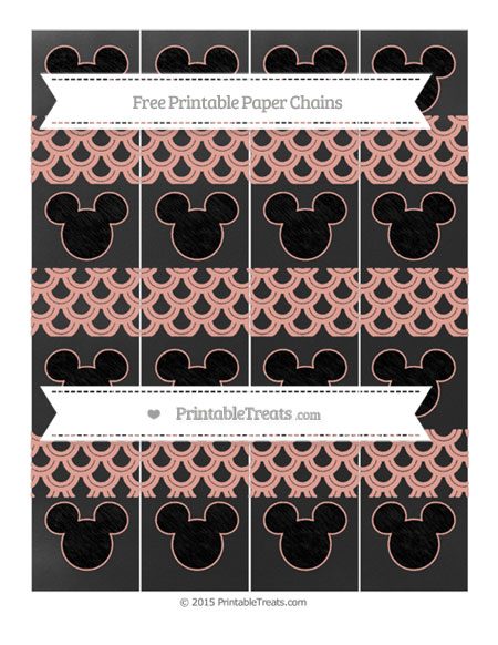 Free Pastel Coral Fish Scale Pattern Chalk Style Mickey Mouse Paper Chains