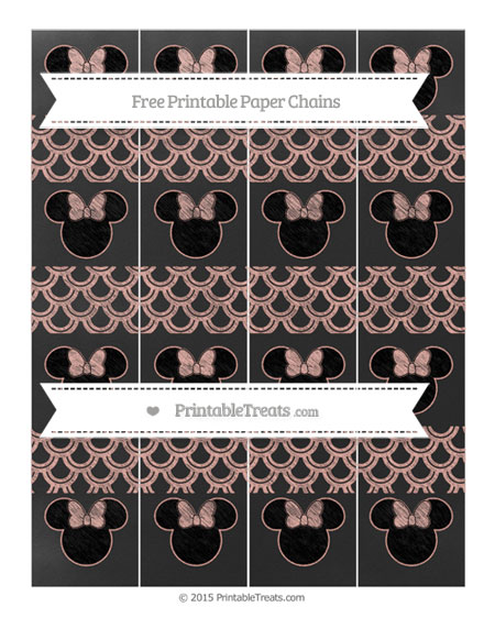 Free Pastel Coral Fish Scale Pattern Chalk Style Minnie Mouse Paper Chains