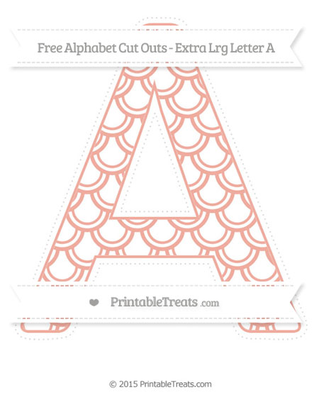 Free Pastel Coral Fish Scale Pattern Extra Large Capital Letter A Cut Outs