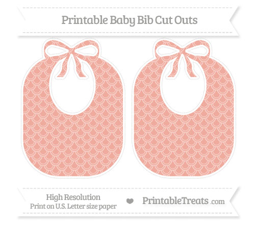 Free Pastel Coral Fish Scale Pattern Large Baby Bib Cut Outs