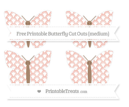 Free Pastel Coral Fish Scale Pattern Medium Butterfly Cut Outs