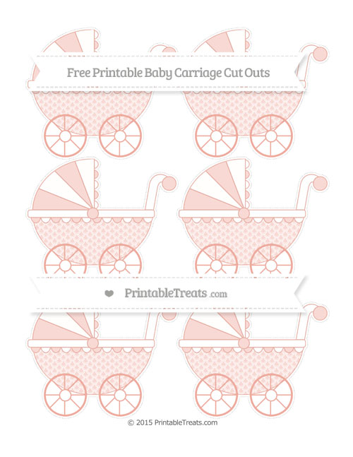 Free Pastel Coral Fish Scale Pattern Small Baby Carriage Cut Outs