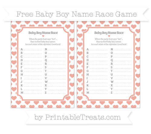 Free Pastel Coral Heart Pattern Baby Boy Name Race Game