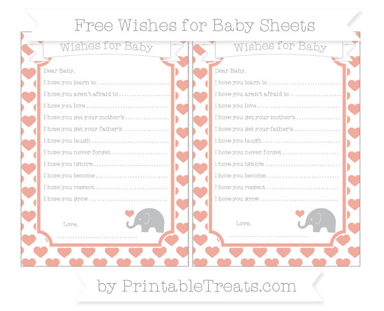 Free Pastel Coral Heart Pattern Baby Elephant Wishes for Baby Sheets