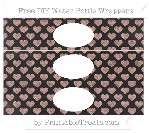 Free Pastel Coral Heart Pattern Chalk Style DIY Water Bottle Wrappers