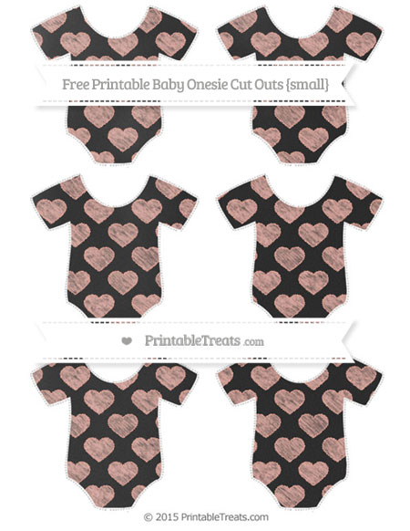 Free Pastel Coral Heart Pattern Chalk Style Small Baby Onesie Cut Outs