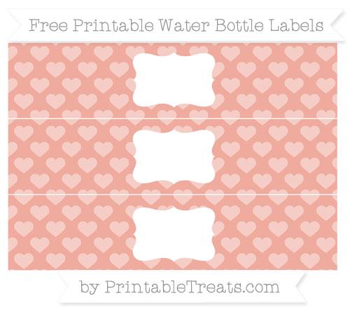 Free Pastel Coral Heart Pattern Water Bottle Labels