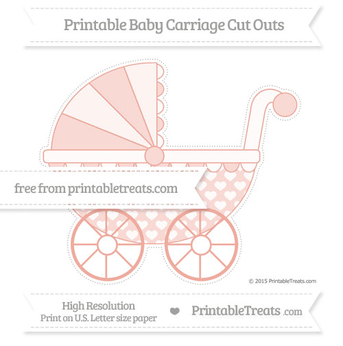 Free Pastel Coral Heart Pattern Extra Large Baby Carriage Cut Outs