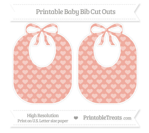 Free Pastel Coral Heart Pattern Large Baby Bib Cut Outs