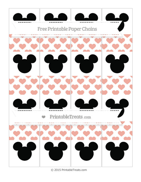 Free Pastel Coral Heart Pattern Mickey Mouse Paper Chains
