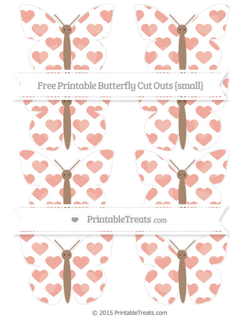 Free Pastel Coral Heart Pattern Small Butterfly Cut Outs