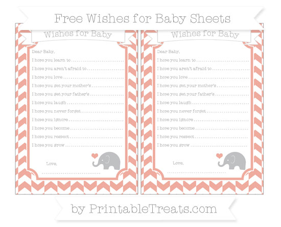 Free Pastel Coral Herringbone Pattern Baby Elephant Wishes for Baby Sheets