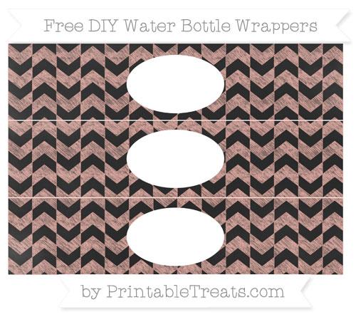 Free Pastel Coral Herringbone Pattern Chalk Style DIY Water Bottle Wrappers