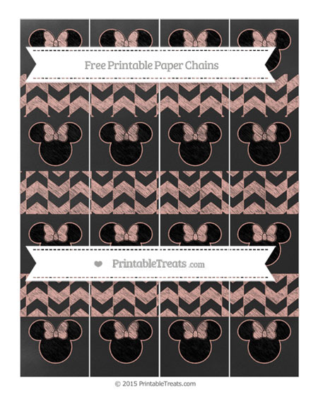 Free Pastel Coral Herringbone Pattern Chalk Style Minnie Mouse Paper Chains
