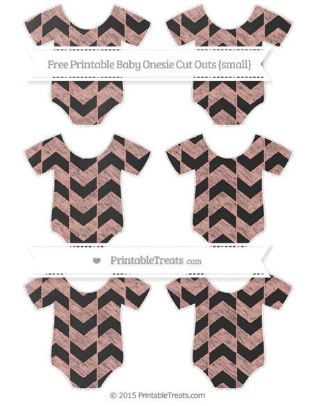 Free Pastel Coral Herringbone Pattern Chalk Style Small Baby Onesie Cut Outs