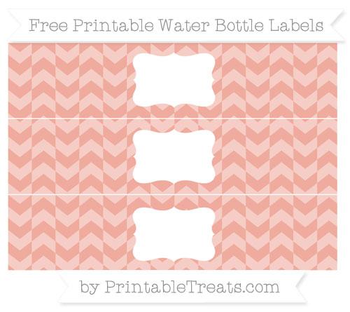 Free Pastel Coral Herringbone Pattern Water Bottle Labels