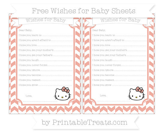 Free Pastel Coral Herringbone Pattern Hello Kitty Wishes for Baby Sheets