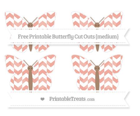 Free Pastel Coral Herringbone Pattern Medium Butterfly Cut Outs