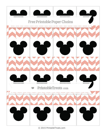 Free Pastel Coral Herringbone Pattern Mickey Mouse Paper Chains