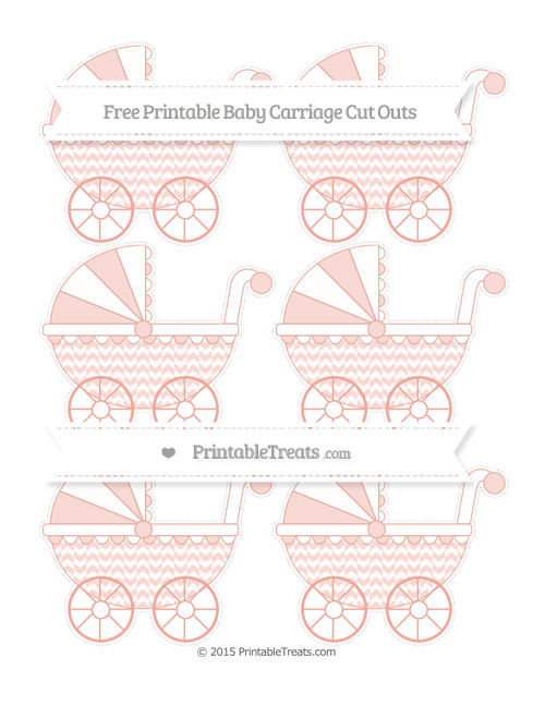 Free Pastel Coral Herringbone Pattern Small Baby Carriage Cut Outs