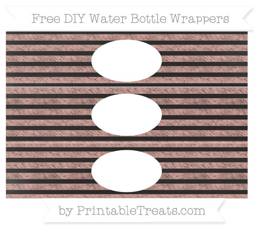 Free Pastel Coral Horizontal Striped Chalk Style DIY Water Bottle Wrappers