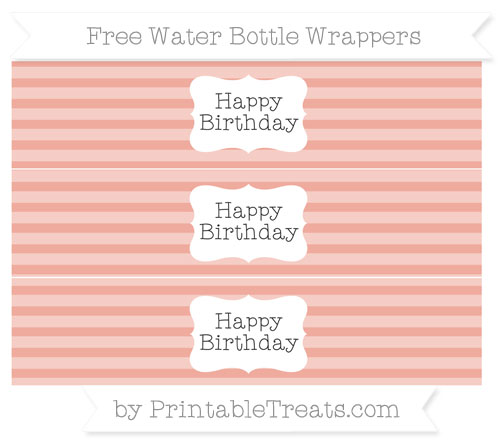 Free Pastel Coral Horizontal Striped Happy Birhtday Water Bottle Wrappers