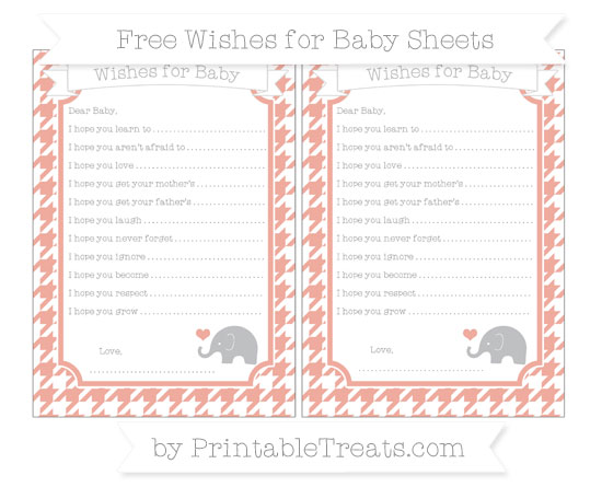 Free Pastel Coral Houndstooth Pattern Baby Elephant Wishes for Baby Sheets