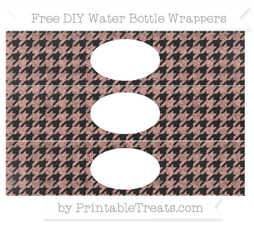 Free Pastel Coral Houndstooth Pattern Chalk Style DIY Water Bottle Wrappers