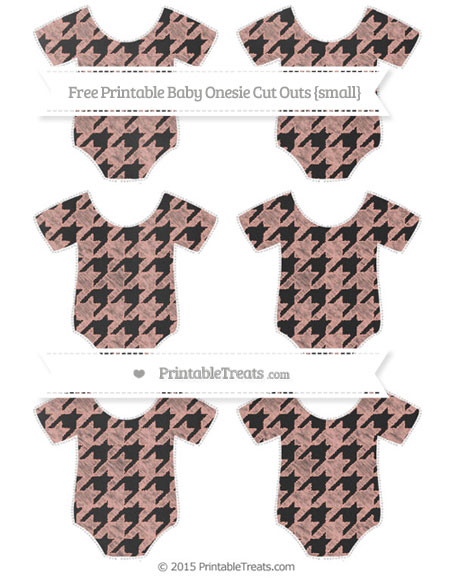 Free Pastel Coral Houndstooth Pattern Chalk Style Small Baby Onesie Cut Outs
