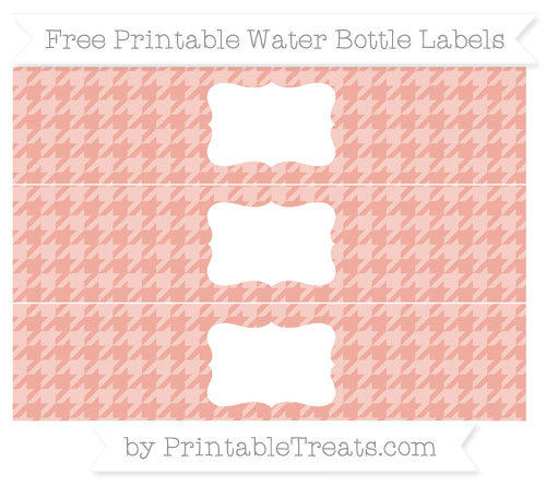 Free Pastel Coral Houndstooth Pattern Water Bottle Labels