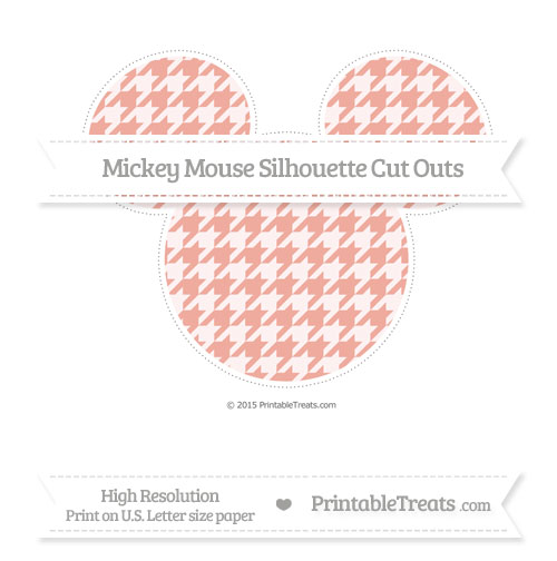 Free Pastel Coral Houndstooth Pattern Extra Large Mickey Mouse Silhouette Cut Outs