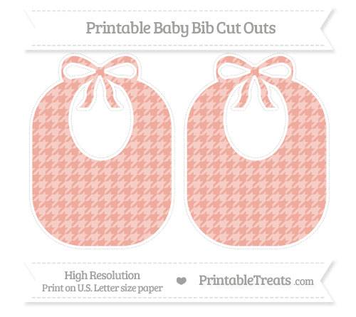 Free Pastel Coral Houndstooth Pattern Large Baby Bib Cut Outs