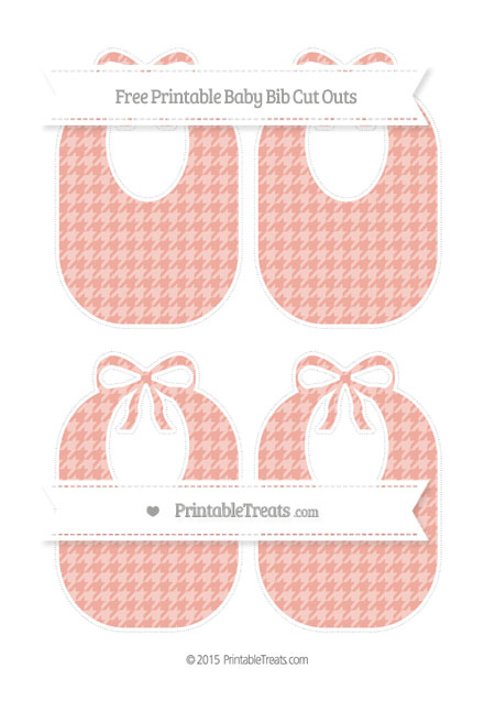 Free Pastel Coral Houndstooth Pattern Medium Baby Bib Cut Outs