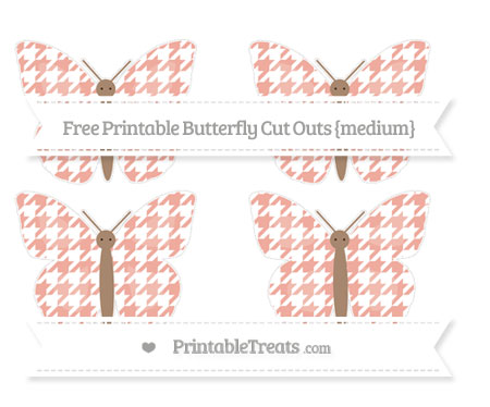 Free Pastel Coral Houndstooth Pattern Medium Butterfly Cut Outs