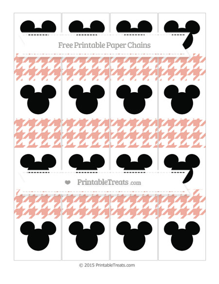 Free Pastel Coral Houndstooth Pattern Mickey Mouse Paper Chains