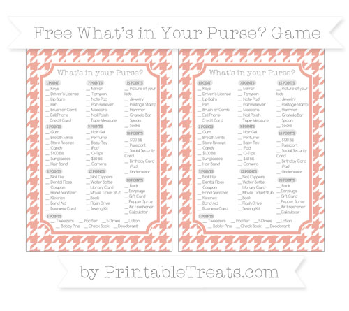 Free Pastel Coral Houndstooth Pattern What's in Your Purse Baby Shower Game