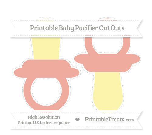 Free Pastel Coral Large Baby Pacifier Cut Outs
