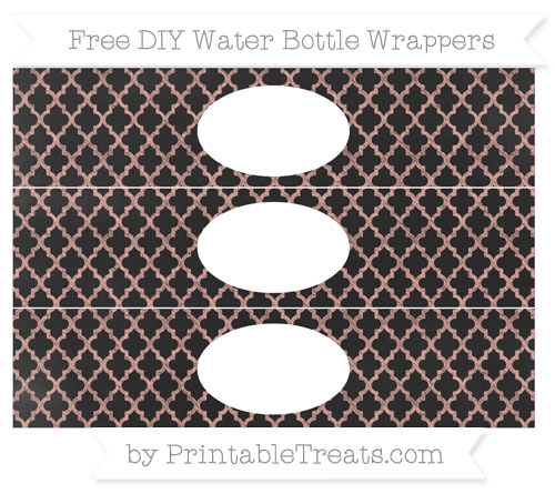 Free Pastel Coral Moroccan Tile Chalk Style DIY Water Bottle Wrappers