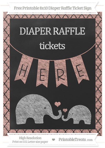 Free Pastel Coral Moroccan Tile Chalk Style Elephant 8x10 Diaper Raffle Ticket Sign