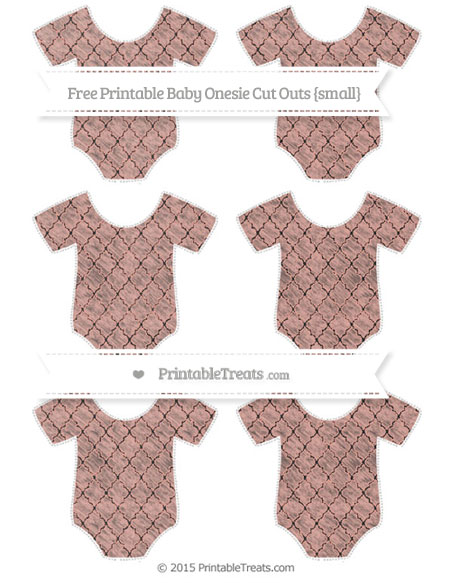 Free Pastel Coral Moroccan Tile Chalk Style Small Baby Onesie Cut Outs