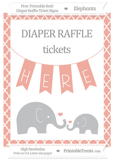 Free Pastel Coral Moroccan Tile Elephant 8x10 Diaper Raffle Ticket Sign