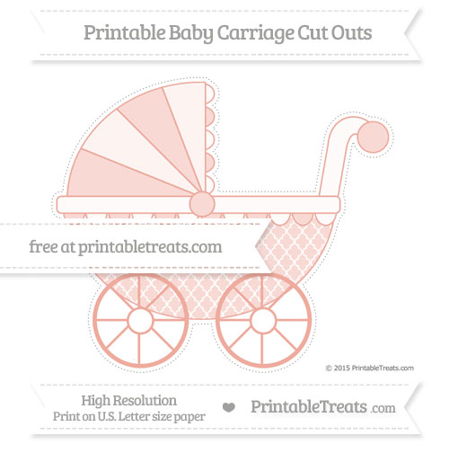 Free Pastel Coral Moroccan Tile Extra Large Baby Carriage Cut Outs