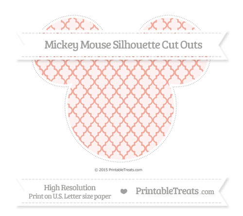Free Pastel Coral Moroccan Tile Extra Large Mickey Mouse Silhouette Cut Outs