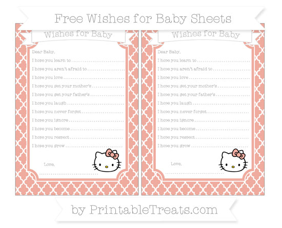 Free Pastel Coral Moroccan Tile Hello Kitty Wishes for Baby Sheets