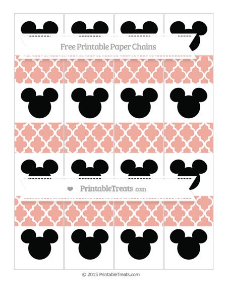 Free Pastel Coral Moroccan Tile Mickey Mouse Paper Chains